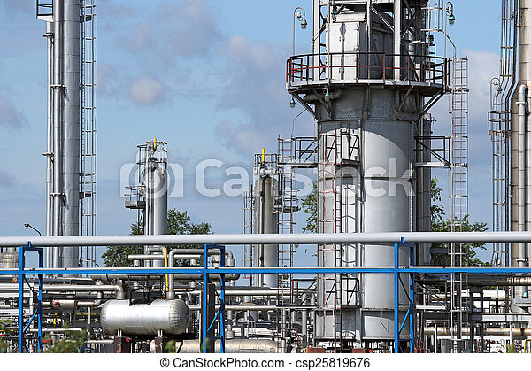 raffinerie, industrie, canalisations, zone - csp25819676