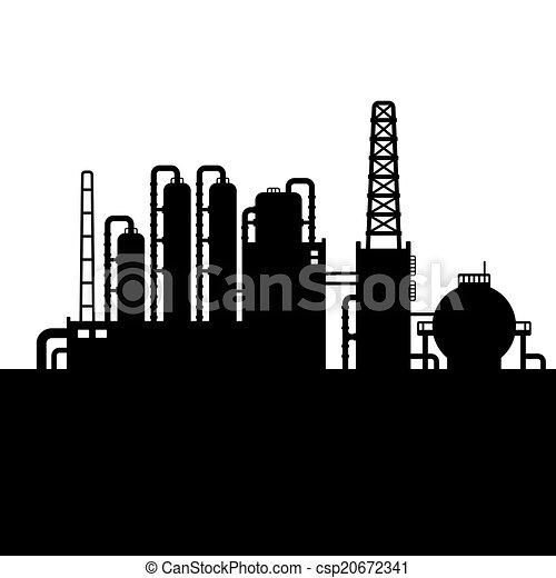raffinerie, plante, huile, silhouette, usine, chimique, vecteur, 3. - csp20672341