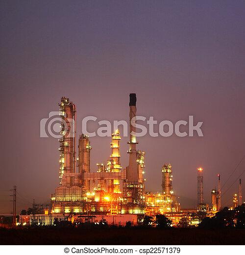 raffinerie, plante, pétrochimique, twilight., huile - csp22571379