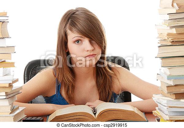 ragazza adolescente, essendo, stanco, scrivania, studiare - csp2919915