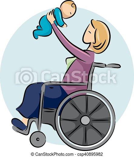 ragazza bambino, carrozzella, mamma - csp40895982