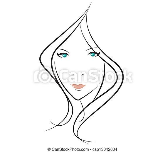 ragazza, bellezza, faccia - csp13042804