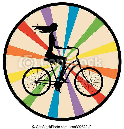 Ragazza Bicicletta Silhouette