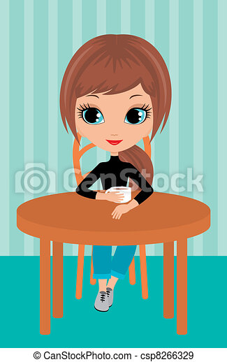 ragazza, caffè, carino, bibite - csp8266329