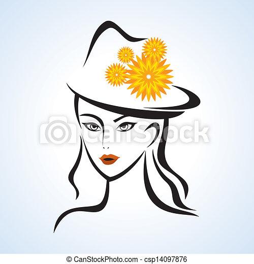 ragazza, cappello, bellezza - csp14097876