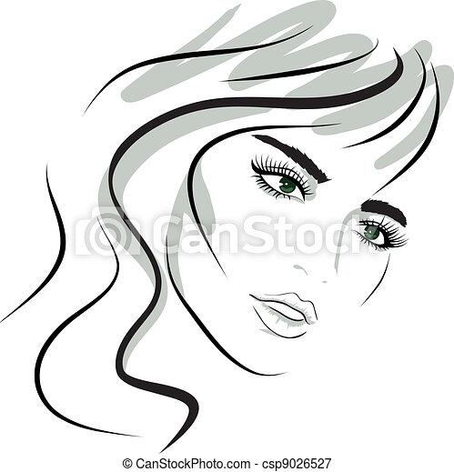 ragazza, disegno, face., bellezza, elements. - csp9026527