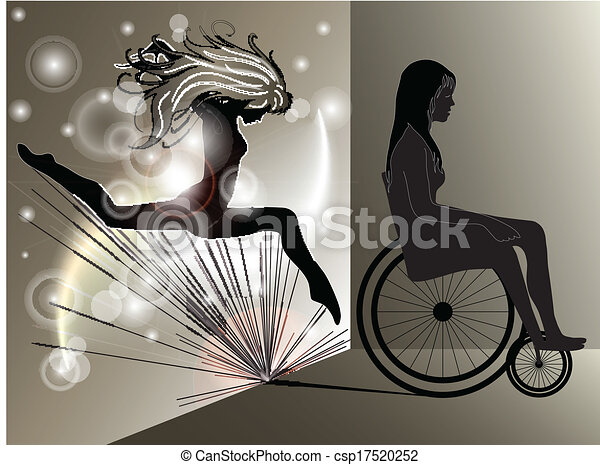 ragazza, donna, carrozzella, triste, saltare, uggia - csp17520252
