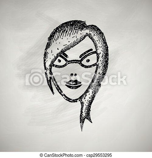 ragazza, faccia, icona - csp29553295