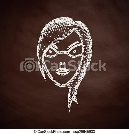 ragazza, faccia, icona - csp29645933