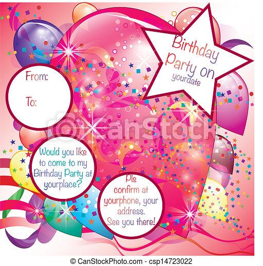 ragazza festa, palloni, scheda, invito - csp14723022