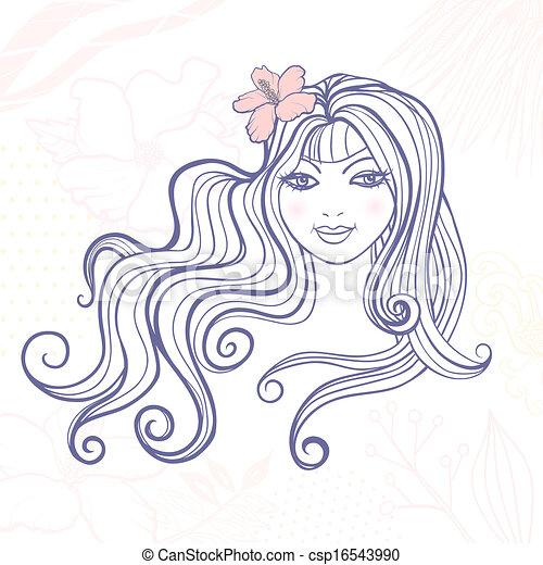 ragazza, fiore - csp16543990