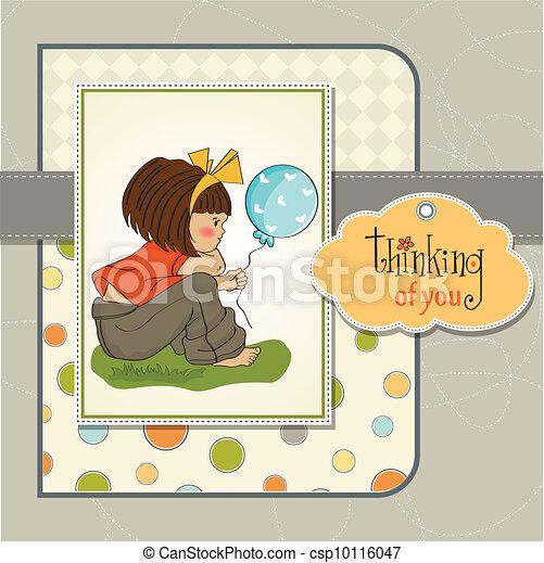 ragazza, giovane, carino, seduta - csp10116047
