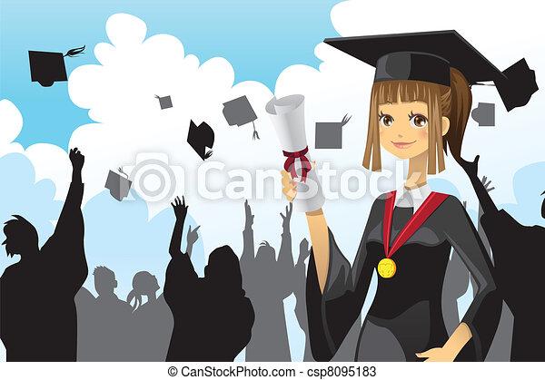 ragazza, graduazione, presa a terra, diploma - csp8095183