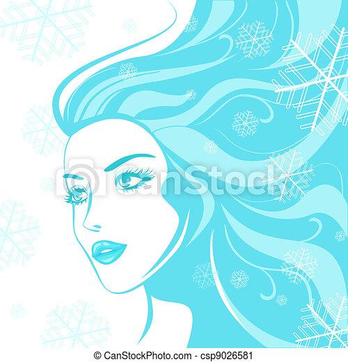 ragazza, inverno, faccia - csp9026581