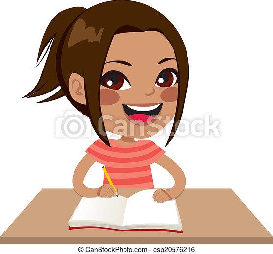 ragazza, latina, studente, scrittura - csp20576216
