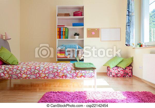ragazza, luminoso, giallo, stanza - csp22142454