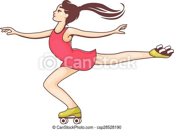 Ragazza Pattini A Rotelle Rullo Ragazza Vettore Skates