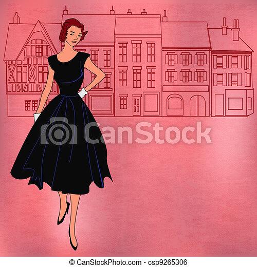 ragazza, shopping, retro - csp9265306