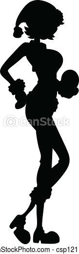 ragazza, silhouette, santa - csp12110773