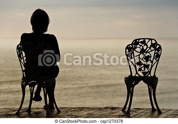 ragazza, solitario, sedia - csp1270378