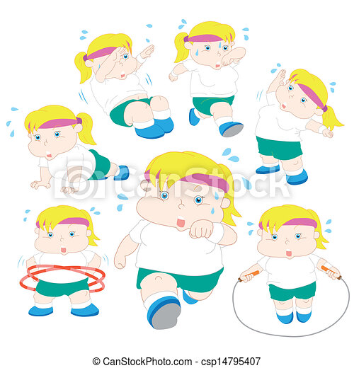 ragazza, sovrappeso, illustrazione, collezione, idoneità - csp14795407