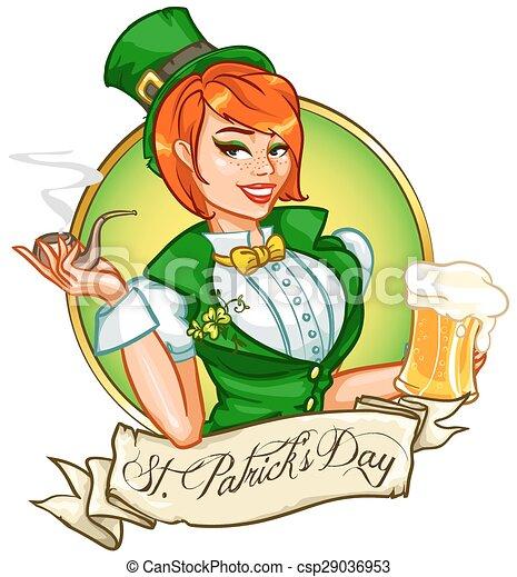 ragazza, su, tazza, perno, tubo, fumo, birra, carino - csp29036953
