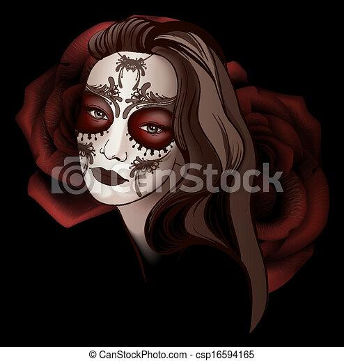 ragazza, truccare, cranio, zucchero - csp16594165