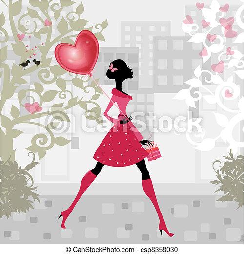 ragazza, valentines, balloon - csp8358030