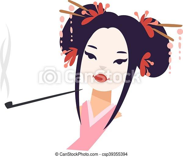 Preferenza Ragazza, vettore, giapponese, geisha. Bella donna, bellezza MB43