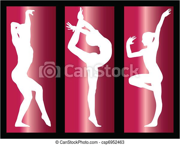 ragazze, ginnastico, fondo - csp6952463