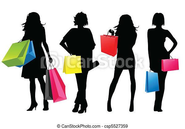 ragazze, silhouette, shopping - csp5527359