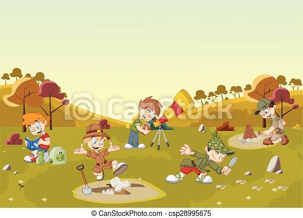 Ragazzi cartone animato esploratore il portare differente