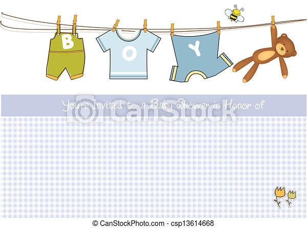 ragazzo bambino, doccia, scheda, annuncio - csp13614668