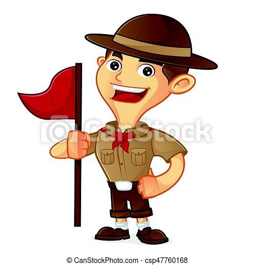 Ragazzo bandiera esploratore cartone animato presa a terra