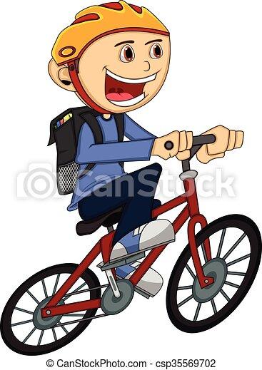 Ragazzo bicicletta cartone animato ragazzo pieno colore