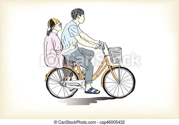 Ragazzo Bicicletta Disegno Illustrazione Mano Vettore Libero Sentiero Per Cavalcate Ragazza