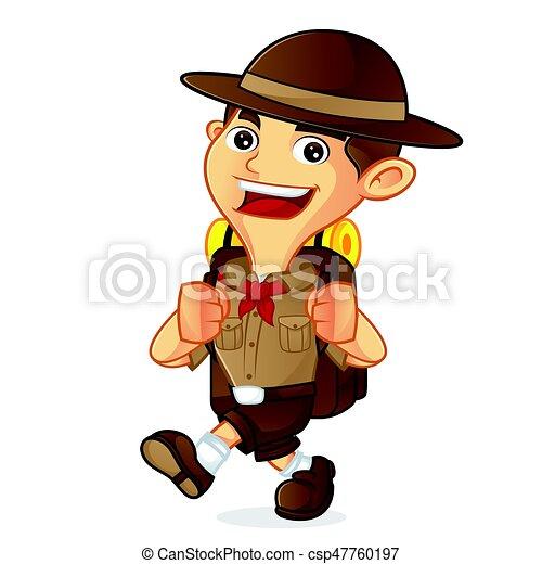 Giovane esploratore con la bussola in mano e lo zaino sulle spalle