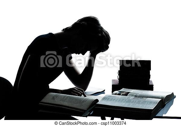 ragazzo, caucasico, taglio, silhouette, stanco, studiare, isolato, giovane, lettura, libri, studio, adolescente, fondo, bianco, ragazza, fuori - csp11003374