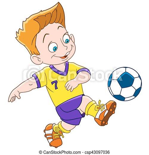 ragazzo, football, cartone animato, giocatore - csp43097036