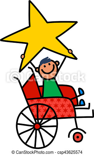 ragazzo, gigante, infantile, seduta, carrozzella, star., cartone animato, invalido, presa a terra, disegno, felice - csp43625574