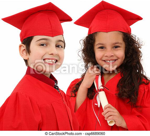 ragazzo, graduazione, asilo, interacial, ragazza, bambini - csp6689060