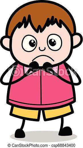 ragazzo, -, grasso, vettore, illustrazione, terrorizzato, cartone animato, adolescente - csp68843400