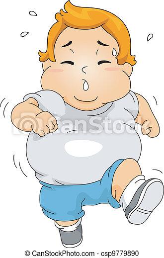 ragazzo, jogging, sovrappeso - csp9779890