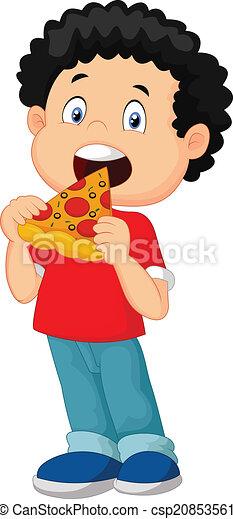 ragazzo, mangiare, cartone animato, pizza - csp20853561