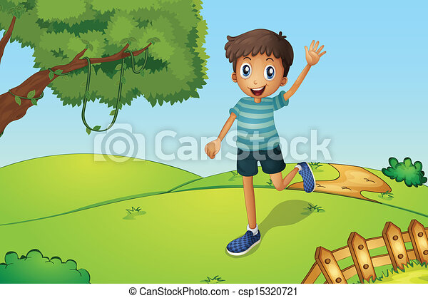 ragazzo, mentre, ondeggiare, correndo, collina, felice - csp15320721