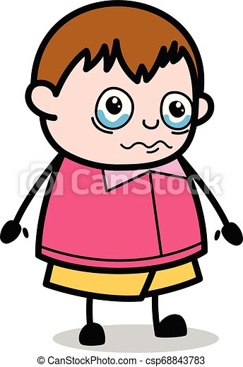 ragazzo, molto, -, grasso, vettore, illustrazione, emotivo, cartone animato, adolescente - csp68843783