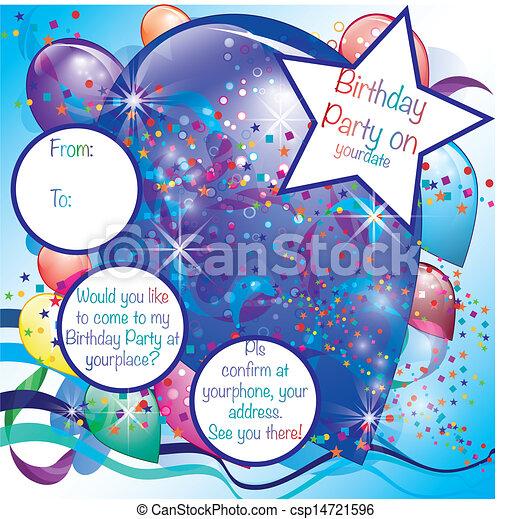 ragazzo, palloni, festa, scheda, invito - csp14721596