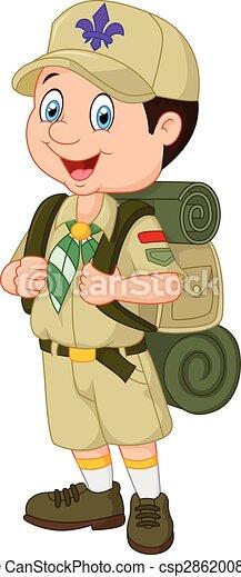 Ragazzo poco esploratore cartone animato ragazzo poco