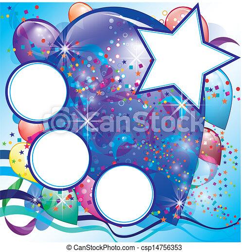 ragazzo, spazio, festa, bianco, palloni, scheda - csp14756353