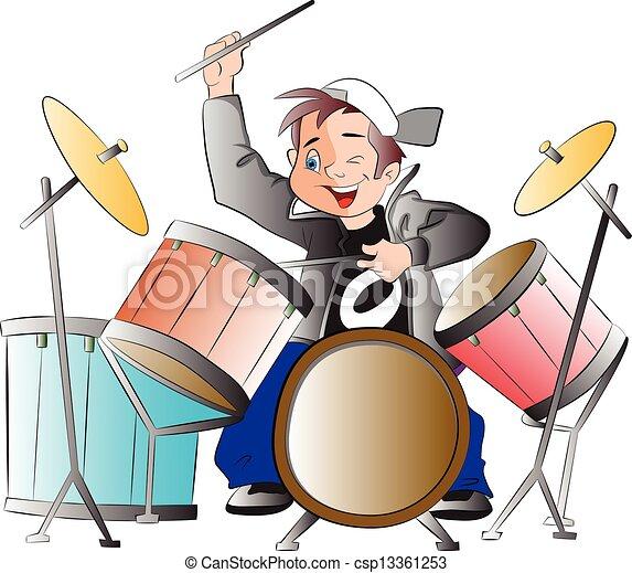 ragazzo, tamburi, gioco, illustrazione - csp13361253
